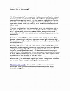 Restaurant Business Plan Examples Business Plan For Restaurant Pdf