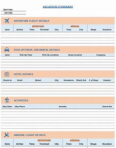 Detailed Itinerary Template Blank Itinerary Templates Word Excel Samples