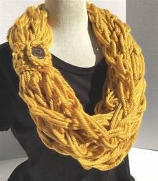 s crochet arm knit crochet bulky rope scarf in mustard