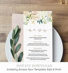 Wedding Menu Cards Wedding Menu Template Instant Download Printable Floral
