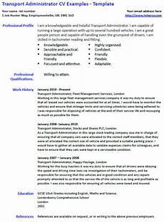 Admin Cv Examples Uk Transport Administrator Cv Example And Template Lettercv Com