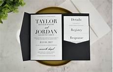 Wedding Invitations Black And White Real Diy Wedding Invitation Classic Black Amp White Pocket