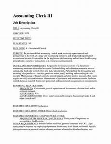 Job Description For Accounting Clerk Accounting Clerk Iii Job Description