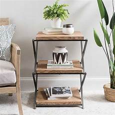 wood and metal x base 3 tier side table side table decor