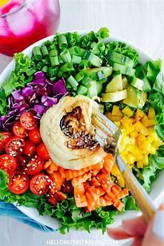 rainbow salad with hummus balsamic dressing hello