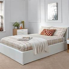 small 4ft bed frame faux leather ottoman white