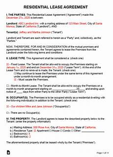 Downloadable Residential Lease Agreement Free Rental Lease Agreement Templates Residential