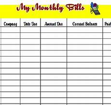 Monthly Bills List Download The Pdf Template And Keep Track Of Your Monthly