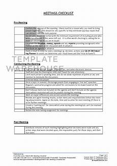Meeting Checklist Template Gm 01 001 Meeting Checklist Template Warehouse