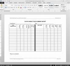 Sales Representative Weekly Report Sample Weekly Sales Summary Report Template