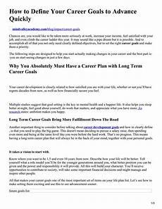 Examples Of Career Goals How To Define Your Career Goals To Advance Quickly By
