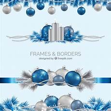 Blue Holiday Border Realistic Blue And Silver Christmas Borders Vector Free