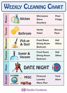 Cleaning House Schedule Chart K E B Studio Creations Weekly Cleaning Chart
