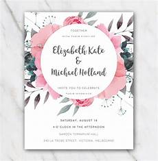 Pink Invitations Pink Flowers Wedding Invitation Template In Word For Free