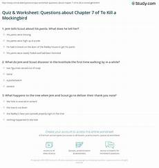 To Kill A Mockingbird Chapter 7 Summary Quiz Amp Worksheet Questions About Chapter 7 Of To Kill A