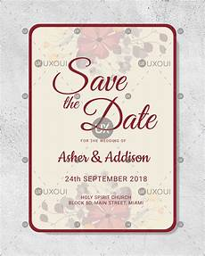 Save The Date Card Design Floral Save The Date Card Design Template Vector For