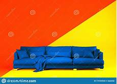 Two Tone Sofa 3d Image by The Blue Sofa In Two Tone Orange And Yellow Studio Stock