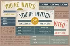 Free Postcard Invitation Templates Printable Invitation Postcard Invitation Templates On Creative Market