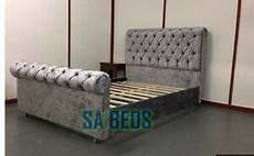 luxury chesterfield style upholstered sleigh bed frame