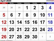 Images Of 2020 Calendar April 2020 Calendar Templates For Word Excel And Pdf