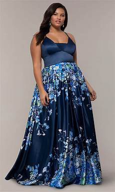 Light Blue Plus Size Formal Dress Plus Size Navy Prom Dress With Floral Skirt Promgirl