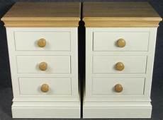 pair of modern solid oak top painted 3 drawer