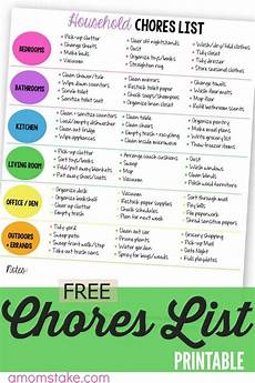 List Of House Chores Printable Household Chores List A S Take
