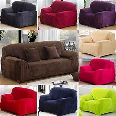 thick heavy 8 solid colour plush stretch sofa
