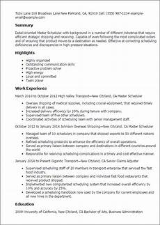 Medical Scheduler Resume 1 Master Scheduler Resume Templates Try Them Now