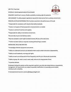 Head Cook Job Description Job Posting Prep Cook Catering Blog