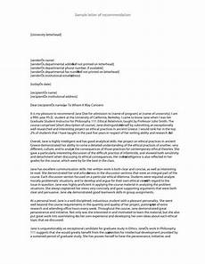 Letter Of Recommendation Sample Letters 10 Recommendation Letter Samples For Students Proposal