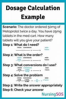 Dosage Conversion Chart Dosage Calculation Example Problem Nursing Cards Notes