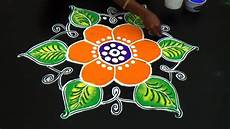 Color Kolam Designs With Dots Beautiful Rangoli Design With 9x5 Middle Dots Easy Color