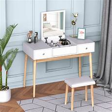 homcom dressing table set with flip top mirror and