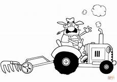 happy farmer driving tractor coloring page free