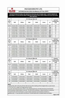 Polycab Cable Size And Current Rating Chart Pdf Polycab Cables Amp Wires Price Chart List Available