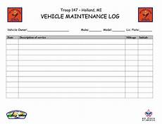 Car Maintenance Log Template Troop 147 Holland Mi
