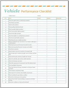 Vehicle Checklist Template Word Vehicle Performance Checklist Template For Excel Word