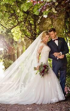 modern off the shoulder wedding gown essense of