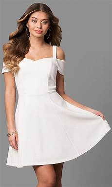ivory graduation dress with cold shoulder promgirl