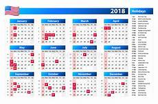 Us Calendars Usa Calendar 2018 Official Holidays And Non Working Days
