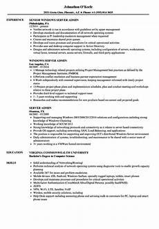 Server Admin Resume Server Admin Resume Samples Velvet Jobs