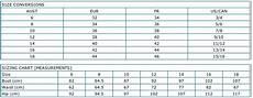 Swim And Sweat Size Chart Swimwear Size Charts
