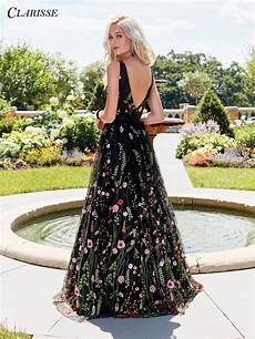black floral embroidered prom dress 3565 floral prom