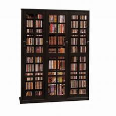 black 2 cd dvd storage cabinet with sliding doors