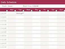 Daily Schedule Excel Template Daily Schedule Templates Word Templates Docs