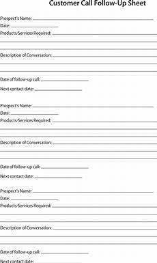 Customer Contact Report Template Prospect Sheet Customer Call Follow Up Call Sheet Catering