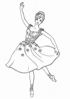 coloring page ballerina in a modest dress