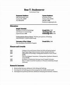 Student Cv Template Pdf 11 Student Curriculum Vitae Templates Pdf Doc Free