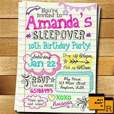 Girl Sleepover Invitations Pin On Party Time